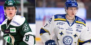 Lucas Nordsäter i FBK-tröjan säsongen 2017-18 och LIF-tröjan 2019-20.  Foto: Bildbyrån/Arkiv