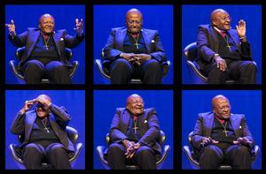 Fotomontage över ärkebiskop Desmond Tutu. Foto: Berit Roald / NTB scanpix