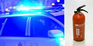 En man ska enligt polisen ha kastat en brandsläckare mot en väktare i en butik i Mjälga, i Borlänge. Bilden är ett montage.