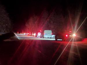 Det bildades långa bilköer i samband med olyckan.