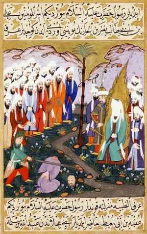 En av ledarna för månggudadyrkarna, Nadr ibn al-Harith, halshuggs av Muhammeds kusin Ali efter slaget vid Badr. Muhammeds ansikte är bara en vit fläck för att följa det muslimska avbildningsförbudet. Illustrationen är från det turkiska Muhammed-eposet Siyer-i Nebi från 1388.