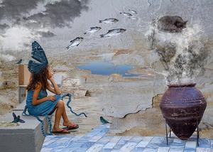 """Sune Liljevalls """"Flicka med livlig fantasi"""". En drömmande flicka har en gigantisk fjäril på huvudet. Hennes tankar är ett fiskstim som hoppar ner i en rykande kruka, med en sovande katt på röken."""