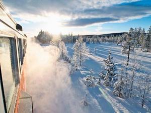 Snötåget trafikerar Inlandsbanan mellan Östersund och Mora för sjätte året.Bild: Inlandsbanan AB