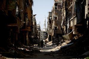 Så här såg det i utkanten av Damaskus i juli i år.