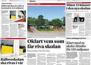 Artiklar gällande Bålbroskolan från 2015 till 2016. NT:s arkiv.