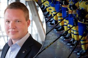 Anders Larsson, ordförande i Svenska Ishockeyförbundet, svarar på kritiken från damspelarna. Bilder: TT Nyhetsbyrån samt Nils Jakobsson/Bildbyrån.