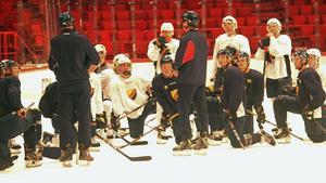 Ex-VIK-aren Kalle Östman tränade, till skillnad från Patrik Berglund, med Djurgårdens lag.