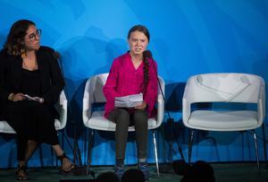 Greta Thunberg talar inför FN:s generalförsamling. Foto: Pontus Lundahl
