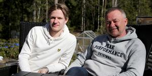 Hugo Gustafsson med sin pappa Fredrik.