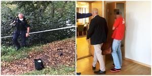 Till vänster utförs teknisk undersökning på brottsplatsen. Till höger: Den åtalade 47-åringen förs in till häktesförhandling med sin försvarare Dennis Harding. Foto: Leif Granlind/Torbjörn Granström