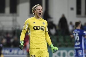 William Eskelinen jublar efter säsongens första seger efter 1-0 vinsten mot Trelleborg.