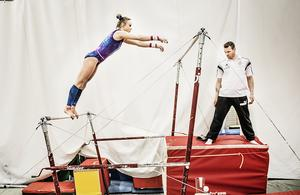 Jonna Adlerteg tog hem SM-guldet i barr under SM-veckan i gymnastik. Foto: Tomas Oneborg /TT