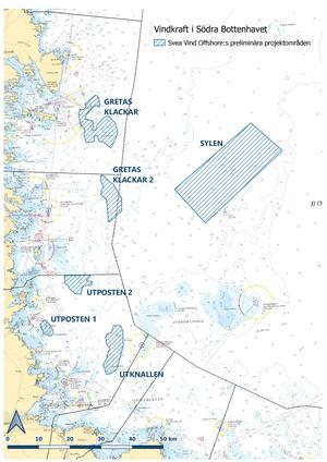 Det här är Svea Vind Offshores karta över planerade projektområden för vindkraft. Områdena är preliminära.