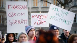 Demonstration mot nedskärningarna av personlig assistans. Bild: Janerik Henriksson/TT arkiv