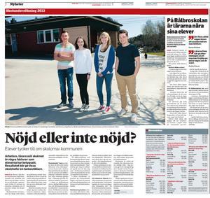 Eleverna på Bålbroskolan fick göra en enkät, och den resulterade i ett högt betyg för grundskolan.