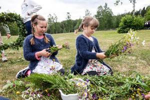 Systrarna Stina och Mona Sperling ordnar blommor till midsommarstången.
