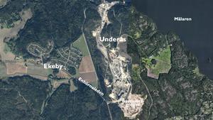 Bastmoragropen är den första delen som ska bebyggas. På sikt kan hela berg- och grustäkten förvandlas till bostäder. Illustration: LT / Google maps