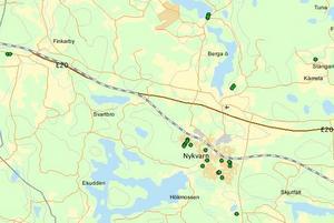 Polisens kartbild visar var i Nykvarn de 25 inbrotten och inbrottsförsöken skett 2018.