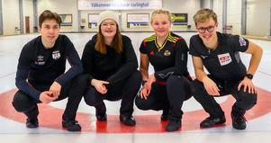 Här är Sveriges representanter till ungdoms-OS i Lausanne. Axel Landelius, Nilla Hallström, Lisa Norrlander och Olle Moberg. Foto: Jörgen Nilsson