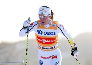 Charlotte Kalla får ingen bonus för hennes världscupseger i Lillehammer. Hon kan dessutom bli utan bonus i OS. Bild: TT