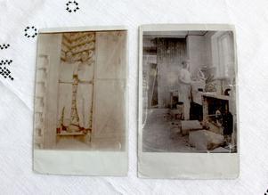 Gamla fotografier av Ullas pappa Hjalmar Tolfström som ung i porslinsfabriken.