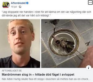Skärmdump från Aftonbladets inlägg på Facebook. Foto: Faksimil