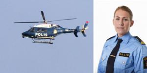 """Vid halv två på söndagen var polishelikoptern på plats och började söka efter den försvunna 84-åringen. """"Det är bra om folk i området kan titta i sina trädgårdar och lekstugor om hon finns där"""", säger polisens presstalesperson Åsa Willsund."""