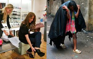 olika villkor. Den västerländska skokundens och den asiatiske arbetarens villkor ligger långt, långt från varandra. Många arbetar med farliga kemikalier helt utan skyddsutrustning, som mannen till höger som bär läder till ett garveri.