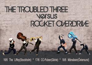 """Klart för drabbing. """"The troubled three"""" och """"Rocket overdrive"""" gör upp på CC-pubens scen i kväll."""