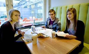 """Ganska lagom. Sofia Mattson, 19 år, Gustav Elfström, 21 år och Johanna Sundqvist, 19 år läser geomatik och har undervisning ungefär två heldagar i veckan. """"Ganska lagom, men ibland är det inte tillräckligt,"""" tycker de."""
