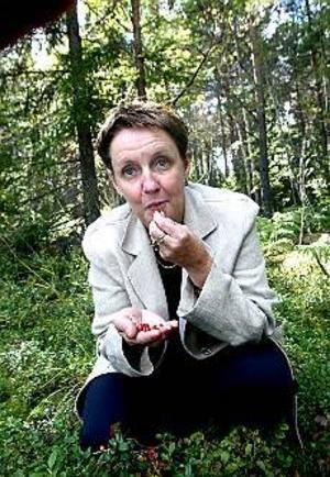 Lokal tillväxt. Skogen är full av lingon, och lingon kan vara en möjlighet. När Anne-Katrine Dunker öppnar butik för lokalproducerade livsmedel i Gysinge vänder hon sig i första hand mot skogen. Bär och vilt kan förvandlas till exotisk lingonchutney och älgsalami, om man bara låter fantasin flöda. Foto: NICK BLACKMON\n