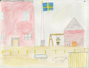 Min gård. Esbjörn Bergkvist, Färilaskolan 4D1, 10 år.1996.