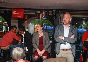 Vänsterpartiets ledare Jonas Sjöstedt vid partiets EU-valvaka på Grand Central i Stockholm på söndagen. Foto: Pontus Lundahl / TT