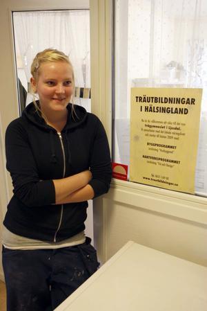 Erika Nygren från Delsbo är klassens enda tjej.
