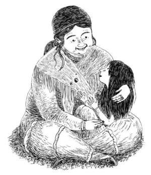 Katitzi i knät på bibi (faster) Klara.   Foto: Joanna Hellgren