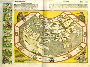 Karta över välden och beskrivning av dess monstruösa människoraser ur