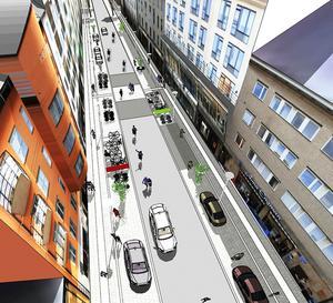 Kungsgatan i södergående riktning. Fotograf: Stadsbyggnadskontoret Örebro