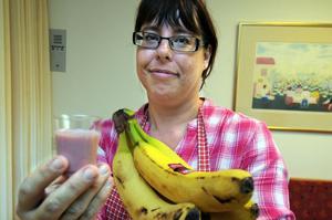 Helena Zättlin, dietist, puffar gärna för nyttiga bananer.