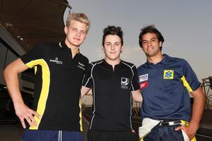 Topp tre i kvalet i Bahrain. Fr v tvåan Marcus Ericsson, kvalvinnaren Fabio Leimer och trean Felipe Nasr.