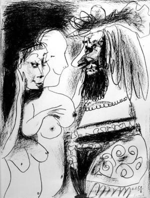 Målaren och hans modell, grafik av Picasso från 1959