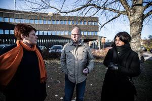 Roza Güclü Hedin (S) med parti- och riksdagskollegerna  Maria Strömkvist och Patrik Engström  på uppvaktning i länet.