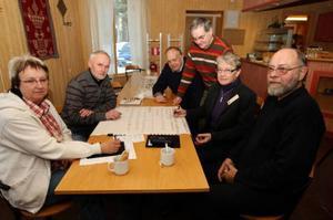 Elisabet Månsson, Stig Ericsson, Per- Erik Persson, Lars- Jan Larsson, Solveig Haugen och Björn Pettersson hoppas mycket på det nya projektet. Foto: Håkan Degselius