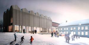 En jury och Jamtlis styrelse har enats om detta förslag av Henning Larsen Architects för projektet Nationalmuseum Norr.