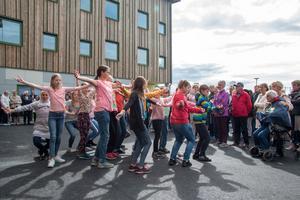 Elever från Lindboskolan dansade vid invigningen.