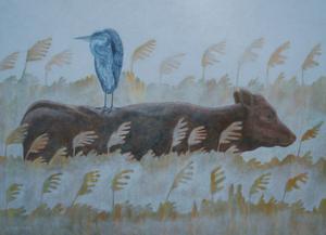 Ett av naturens fantastiska ögonblick. En häger vilar på en ko. Målning av Gunnar Forsman.