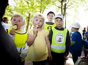 Fick glass. Dagbarnen Felicia Hedberg, Nellie Forsberg, William Eriksson och Anton Liljeby var alla nöjda efter att ha fått glass av brandmännen.