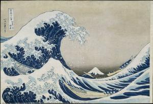 """Förebild. Det kända träsnittet """"Vågen"""" av konstnären Katsushika Hokusai som anses ha skapat Japans första serie och dessutom myntat ordet manga."""