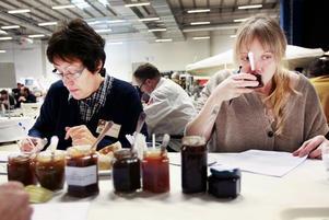På bilden, som är från SM i mathantverk 2010 i Östersund, smakar jurymedlemmarna Ann-Louise Klasgren och Carina Brydling på tävlande marmelader.