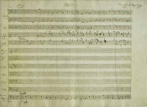 Originalblad från noterna till Mozarts Requiem.