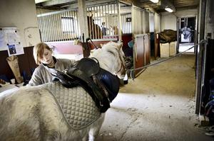 Mer än att bara rida. Under en heldag i stallet ska så mycket mer än bara ridning hinnas med. Efter mycket arbete är det dags för Moa Åsbergh att sätta på sadeln på hästen Sammy.